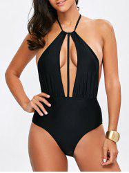 Plungle Neck Openback One Piece Swimwear