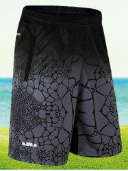 Elastic Waist Printed Board Shorts - DEEP GRAY