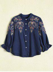 Embroidered Button Up Blouse