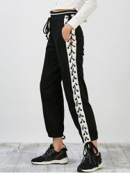 Side Lace Up Jogger Pants - BLACK