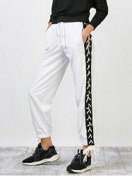 Side Pants Lace Up Jogger - Blanc L