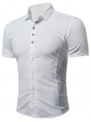 À manches courtes multi Bottoned shirt - Blanc 4XL