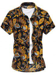Shirt Arbres Cartoon Fleur manches courtes - Multicolore