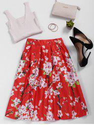 Floral Print Satin High Waisted Skirt