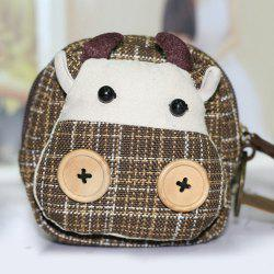 Plaid Cartoon Cow Coin Purse