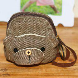 Canvas Cartoon Bear Coin Purse - BROWN