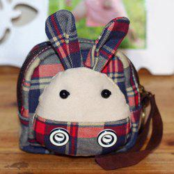 Cartoon Rabbit Tartan Coin Purse
