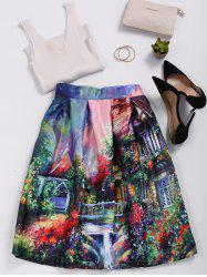 High Waisted Ornate Print Skater Skirt - COLORMIX