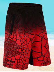 Elastic Waist Printed Board Shorts - RED