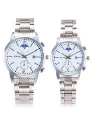 SOUSOU Steel Strap Date Couple Watches