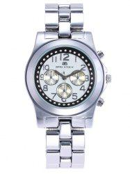BRG STOCK Stainless Steel Strap Rhinestone Watch