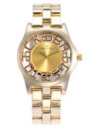 BRG STOCK Alloy Strap Hollow Out Analog Watch - GOLDEN