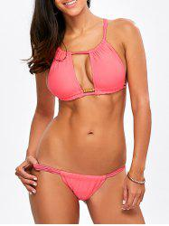 Cut Out  Criss Cross Bikini Suit
