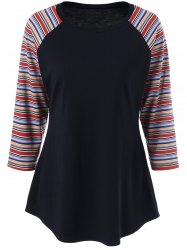 Plus Size Raglan Sleeve Pinstripe Curved T-Shirt