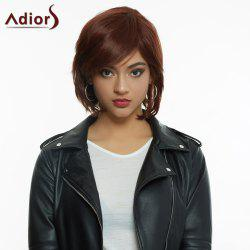 Noble Medium Side Bang Fashion Dark Brown Fluffy Wavy Synthetic Wig For Women