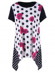 Plus Size Floral with Polka Dot T-Shirt