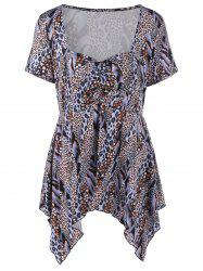Plus Size Sweetheart Neck Leopard Trim T-Shirt
