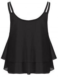 Layered Double Straps Chiffon Cami Top - BLACK M