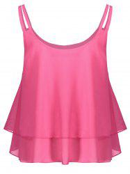 Layered Double Straps Chiffon Cami Top - PEACH RED M