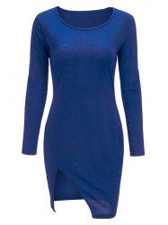 Bodycon manches Slit Mini Long T-Shirt Dress - Bleu XL