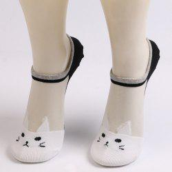 Sheer Mesh Insert Short Knit Cat Socks - WHITE