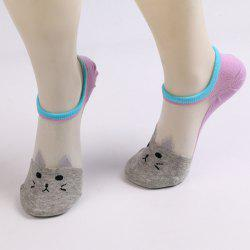 Sheer Mesh Insert Short Knit Cat Socks - LIGHT GRAY