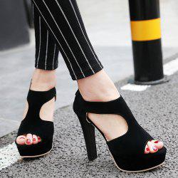 T Strap Chunky Heel Sandals
