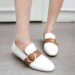 Belt Buckle Square Toe Flat Shoes - WHITE