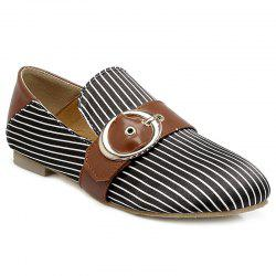 Buckle Strap Striped Flat Shoes - BLACK