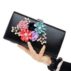 Beaded Flowers Evening Clutch Bag - BLACK