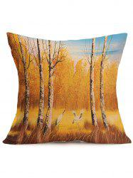 Autumn Landscape Painting Cotton Cloth Square Pillow Case