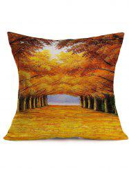 Autumn Trees Road Print Cotton Cloth Square Pillowcase