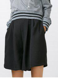 High Waisted Loose Shorts with Pockets - BLACK