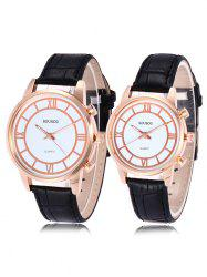 SOUSOU Faux Leather Analog Couple Watches