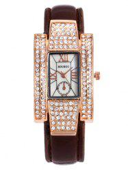 SOUSOU Faux Leather Rhinestone Rectangle Watch