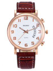 SOUSOU Faux Leather Number Date Watch
