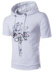 Side Slit Flower Short Sleeve Hoodie Tee