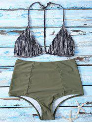 Striped High Waist Bikini Suits - COLORMIX M