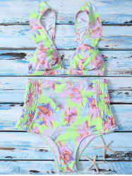 Flounce High Waisted Floral Thong Bikini