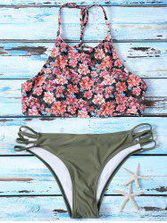 High Neck Floral Print Cut Out Bikini