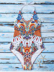 Criss Cross Printed Halter One Piece Swimwear