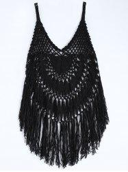 Spaghetti Strap Crochet Cover-Up - Noir
