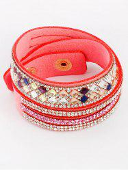 Rhinestone Faux Leather Bracelet