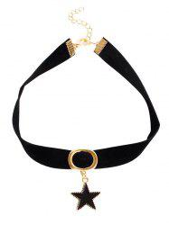 Circle Star Velvet Choker Necklace