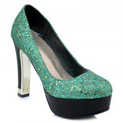 Glitter Round Toe Pumps