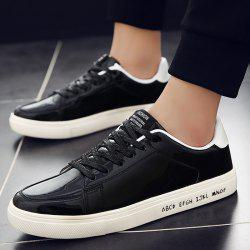 Patent Leather Tie Up Casual Shoes