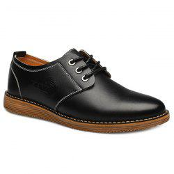 Tie Up Stitching Formal Shoes - BLACK