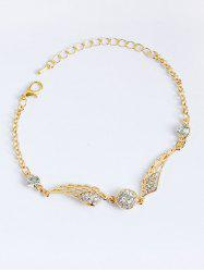 Wings Shape Faux Diamond Chain Bracelet - GOLDEN