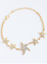 Rhinestone Embellished Starfish Gold Plated Chain Bracelet - GOLDEN