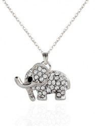 Rhinestoned Elephant Pendant Necklace